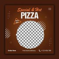 pizza social media banner template vector