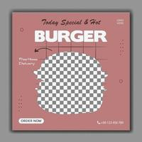 Special burger social media post template vector