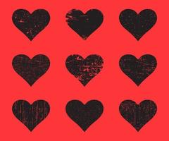 Black grunge hearts set. Distressed texture heart. vector