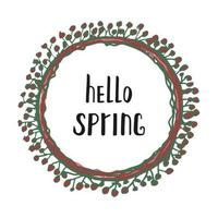 Floral Wreath with modern calligraphy Spring. vector