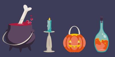 Set of Halloween objects. vector