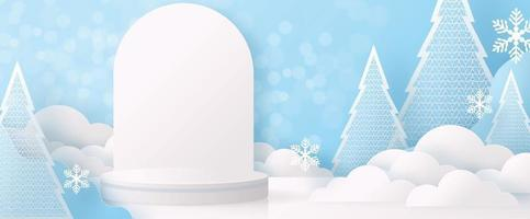 Christmas and New Year podium background vector design