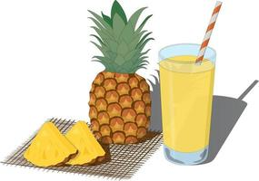 Glass of fresh pineapple juice and whole and cut pineapples vector