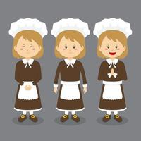 Thanksgiving Character with Various Expression vector