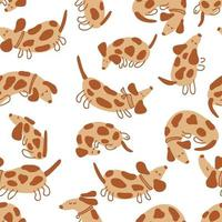 Seamless vector pattern of playing spotted dachshunds