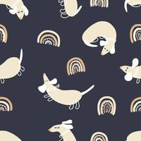 Night summer vector seamless pattern of dachshunds and rainbows