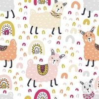 Free hand drawing vector seamless pattern of lamas and rainbows