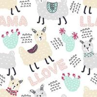 Pastel colored seamless pattern of lamas and cactuses vector