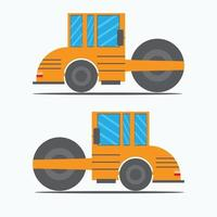 asphalt tractor isometric design with orange color vector