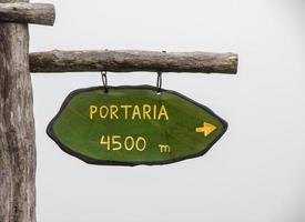 Information sign with the words concierge 4500 meters photo