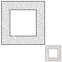 Abstract square maze. Game for kids. Puzzle for children. Labyrinth conundrum. Flat vector illustration isolated on white background. With answer. With place for your image.
