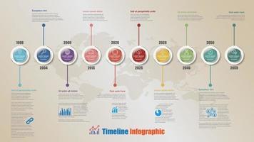 hoja de ruta de negocios infografía de línea de tiempo plana círculo de 10 pasos diseñado vector