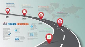 diseño de punteros infográficos de la línea de tiempo de la hoja de ruta de negocios vector