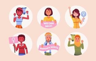 International Women's Day Sticker Set vector
