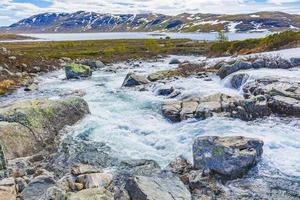 Beautiful Storebottane river at Vavatn lake, Hemsedal, Norway photo