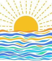 Minimal Sunset Seascape Scene vector
