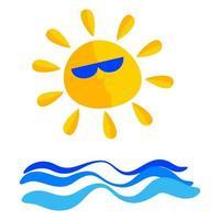 Cute Sunny Seascape Icon vector