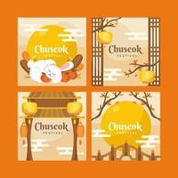 Orange Themed Korean Chuseok Festival vector