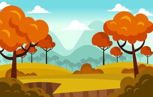 Peaceful Autumn Day Scenery on a Hill vector