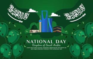 Saudi National Day Celebration Card vector