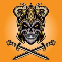 Viking Skull Warrior with Sword Illustrations vector