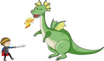 personaje de dibujos animados simple del dragón que respira fuego y el caballero vector