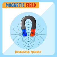 Magnetic field of horseshoe magnet vector