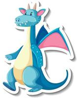 Cute blue dragon cartoon character sticker vector