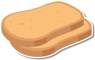 Sliced breads sticker on white background vector