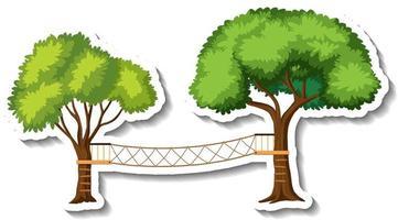Tree wooden bridge with rope vector