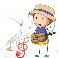 Cartoon doodle a boy playing guitar with melody symbols vector