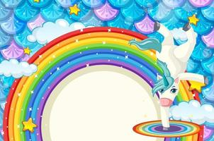 Rainbow banner with cute unicorn on colourful fish scales background vector