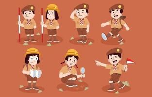 Set of Hand drawn Characters of Pramuka Day vector