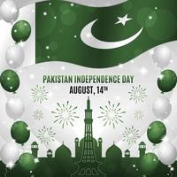 Pakistan Independence Day with Landmark Silhouette Composition vector