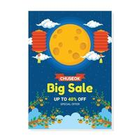 Chuseok Festival Big Sale Poster vector