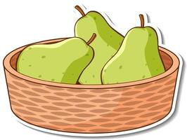 Sticker basket with many pears vector