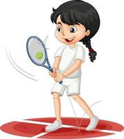 Cute girl playing tennis cartoon character isolated vector