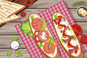 Bruschetta with vegatable ingredients on the wooden table background vector