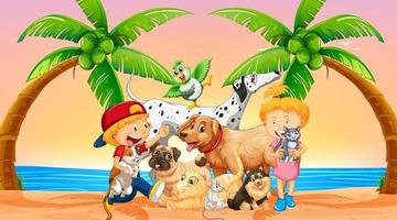 Beach outdoor scene at sunset time with group of pet and children vector