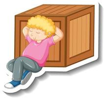 A boy napping beside wooden box on white background vector