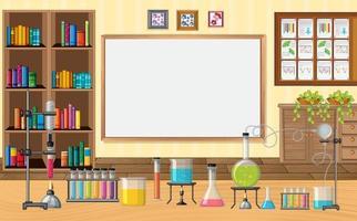 Empty scene with laboratory glass ware in the classroom vector