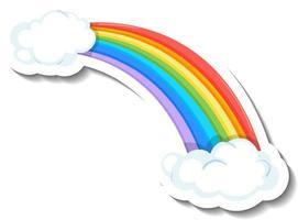 Isolated rainbow with clouds cartoon sticker vector
