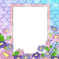Blank banner on rainbow fish scales background with many flowers vector