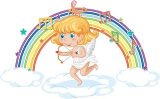 Cupid girl holding arrow and bow with melody symbols on rainbow vector