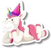 Cute unicorn laying pose on white background vector