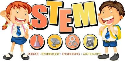 STEM education logo with children cartoon character vector