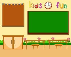 Blank classroom scene with empty chalkboard vector