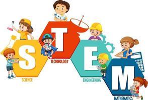 STEM education logo with many kids cartoon character vector