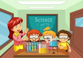 Teacher explaining science experiment to students in the classroom vector