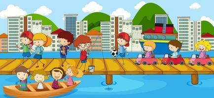 escena con muchos niños doodle en el puente que cruza el río vector